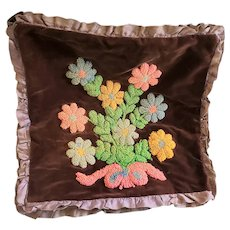 Unusual Vintage Double-Sided Hooked Pillow Cover w/ Posies & Poinsettia Designs