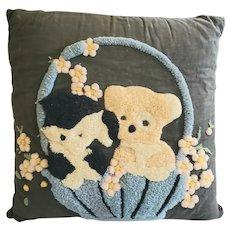 Vintage PA. Folk Art Hooked Pillow w/ Puppies in Basket Design