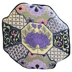 Vintage Octagon Shaped Floral Design Needlepoint Pillow