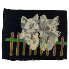Vintage Folk Art Hooked Pillow Cover with 2 Kittens on Fence Design
