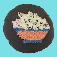 Cute Vintage Folk Art Round Kittens in Basket Hooked Pillow