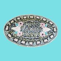 Vintage Signed & Dated 1930 Folk Art Floral Design Hooked and Shirred Rug