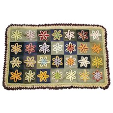 Antique 19th C. Primitive Folk Art Flower Design Stumpwork Table Rug