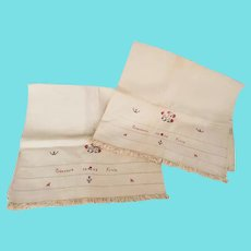 Published Pr. PA. Signed 1866 Embroidered Homespun Pillow Cases from Noted Collection