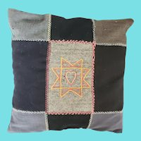 Antique ca. 1915 Folk Art Wool Patchwork Pillow w/Embroidered Heart in Star Design