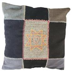 Antique ca. 1915 Folk Art Wool Patchwork Pillow w/Embroidered Heart in Star Design