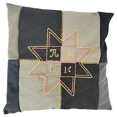 Antique Signed 1915 Folk Art Wool Patchwork Pillow w/Embroidered Star Design