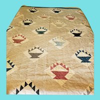 Antique Folk Art Basket Quilt in Great Early Fabrics