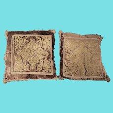 Pair of Near Mint Antique Victorian Brown & Gold Velvet Pillows