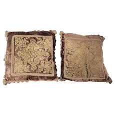 Pair of Near Mint Antique Victorian Brown & Gold Velvet Pillows