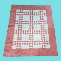 Antique Red & Cream Double Irish Chain Crib Quilt