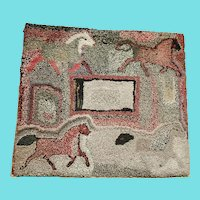 Folk Art Abstract Horse Design Hooked Rug