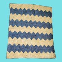 Antique Hand Stitched Blue & Honey Calico Streak of Lightning Crib Quilt