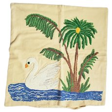 Vintage Folk Art Swan Design Hooked Pillow Cover