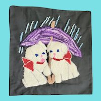 Vintage Folk Art Puppies Under Umbrella Hooked Pillow Cover