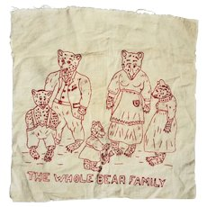 "Charming Vintage Redwork Embroidery of ""The Whole Bear Family"""