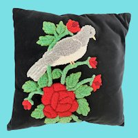 Vintage Near Mint Folk Art Mourning Dove & Roses Hooked Pillow
