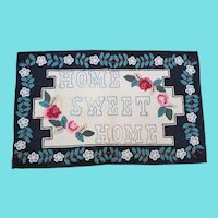 "Vintage Lancaster Co. PA Folk Art ""Home Sweet Home"" Hooked Rug"