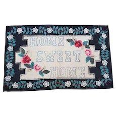 """Vintage Lancaster Co. PA Folk Art """"Home Sweet Home"""" Hooked Rug"""