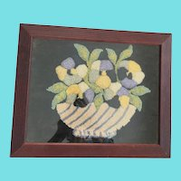 Vintage Folk Art Stumpwork Picture of Bowl of Pansies