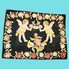 Antique Victorian Folk Art Stumpwork on Velvet Depiction of 2 Cherubs