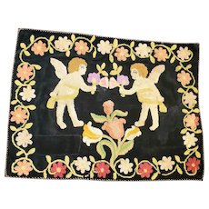 Antique Victorian Folk Art Stumpwork on Velvet Depiction of 2 Cherubs