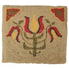 Diminutive Mounted Vintage PA. Dutch Folk Art Hooked Mat with Tulip Design