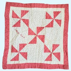 Antique Early 1900s Red & White Pinwheel Doll Quilt with Signature