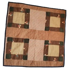 Antique PA. Folk Art Doll Quilt in Early Brown Fabrics