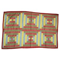 Cheery Antique PA. Folk Art Log Cabin Doll Quilt