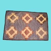 Antique PA. Folk Art Churndash Doll Quilt in Early Fabrics
