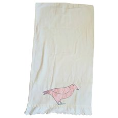 Charming Vintage Folk Art Extra Long Pillowcase w/Appliqued Bird