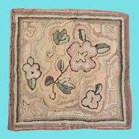 Vintage Primitive Folk Art Abstract Floral Design Hooked Table Mat