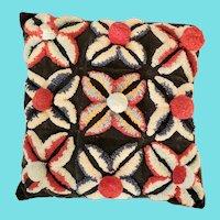 Fabulous Mint Condition Flower Design Stumpwork on Velvet Pillow
