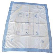 Sweet Vintage Blue Work Embroidery Crib Quilt w/Animals, Flower Basket, & Jacko-lantern