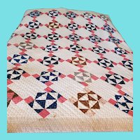 Antique 9-Patch Variation on Point Quilt in Early Fabrics