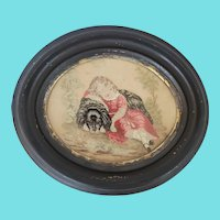 19th C. Victorian Petit Point of Young Girl Sleeping with her Dog from my Collection