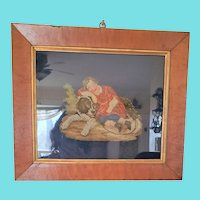 Antique Victorian Framed Needlepoint of Boy Sleeping with Dog