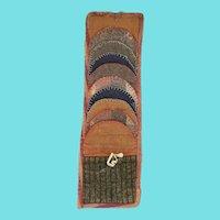 Rare Antique 19th C. PA. Folk Art Wool Sewing Roll-Up Pocket