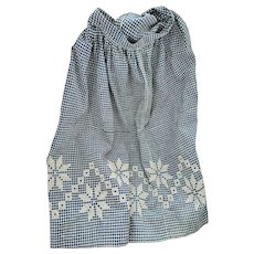 Near Mint Antique Homespun Apron w/Chicken Scratch Embroidery from my Collection