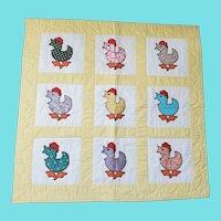 Vintage Mint Condition Chicken Motif Crib Quilt