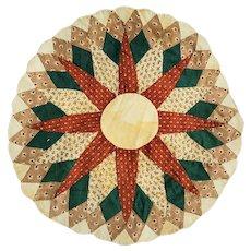 Antique Folk Art Sunburst Pattern Quilt Pattern Table Mat in Early Fabrics