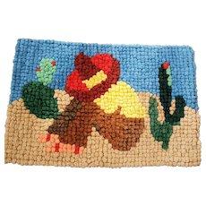 Near Mint Vintage Folk Art Pompom Rug Depicting Man Sleeping in Desert