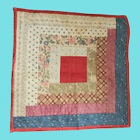 Diminutive Antique 19th C. PA. Folk Art Doll Quilt in Early Fabrics #1