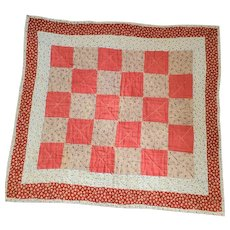 Antique 19th C. PA. Folk Art Doll Quilt in Early Fabrics #3
