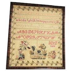Antique 1850 Folk Art Emma Bonnel Sampler  w/ Dog, Man, Bird, + Provenance