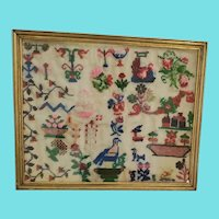 Antique Late 19th C. Folk Wool Pictorial Sampler w/Birds, Flowers, +