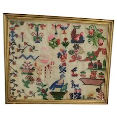 Antique Late 19th C. Folk Wool Pictorial Sampler w/Birds, Flowers, +