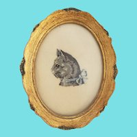Diminutive Vintage Petit Point Profile Portrait of Gray Cat from my Collection