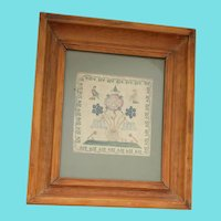 Early to Mid 19th C. English Silk on Linen Sampler w/Birds & Urn of Flowers